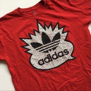 Adidas vintage red logo t-shirt size large